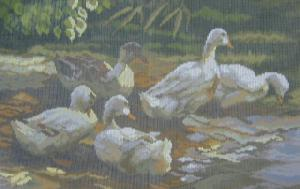 AMC 27649 Enten Am Teich/Ducks In The Pond Needlepoint Canvas
