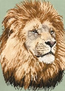 Brenda Franklin EL101 African Lion. 110 x 147 stitches. Cross Stitch, Petit Point, Needlepoint, Waste Canvas, & Rug Hooking Pattern.
