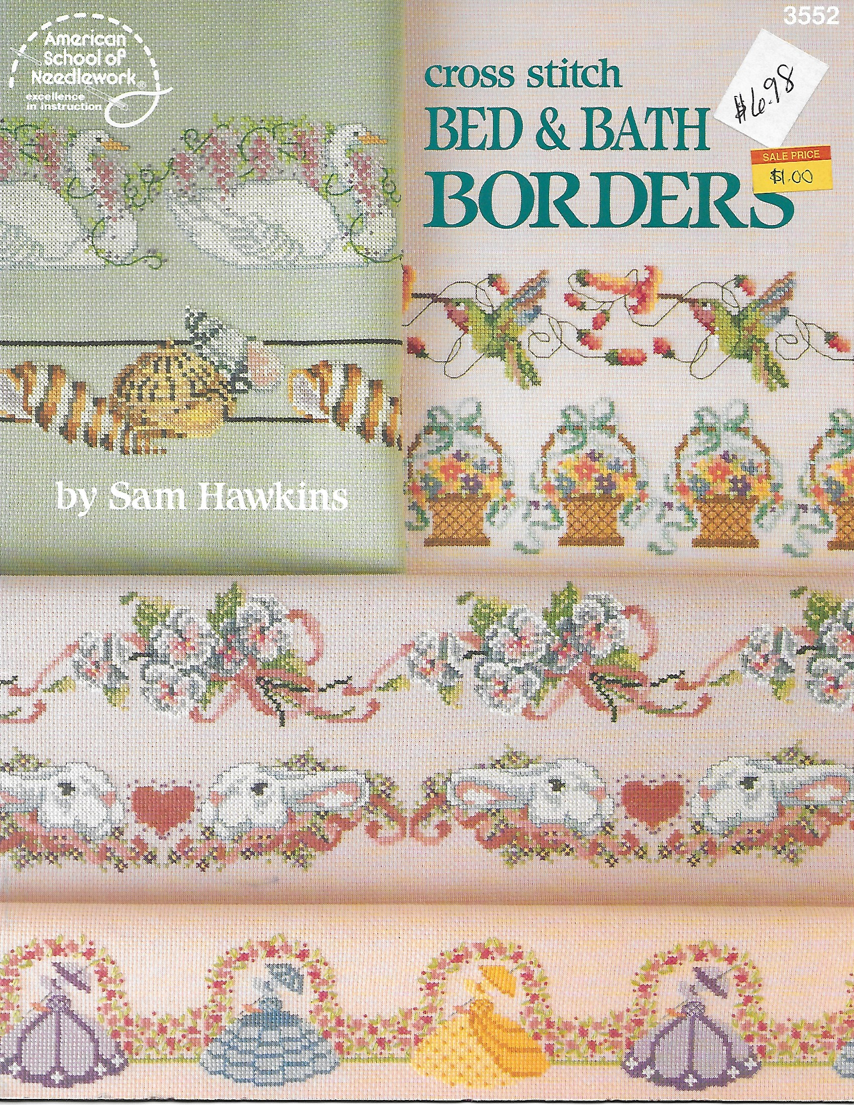 American School of Needlework 3552 Cross Stitch Bed & Bath Borbers by Sam Hawkins