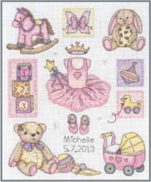 Anchor Kit ACS38 Girl Birth Announcement Counted Cross Stitch Kit