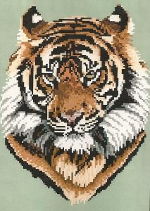 Brenda Franklin ET 101 Bengal Tiger. 100 x 130 stitches. Cross Stitch, Petit Point, Needlepoint, Waste Canvas, & Rug Hooking Pattern.