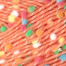 Bernat Dippity Dots 66515 Peach made with nylon, acrylic, and polyester