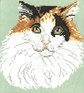 Brenda Franklin CC 101 Calico Cat-Long Hair. 79 x 84 stitches. Cross Stitch, Petit Point, Needlepoint, Waste Canvas, & Rug Hooking Pattern.