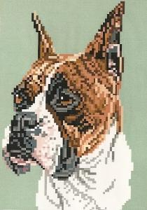 Brenda Franklin DB 114 Boxer-Brindle. 61 x 98 stitches. Cross Stitch, Petit Point, Needlepoint, Waste Canvas, & Rug Hooking Pattern.