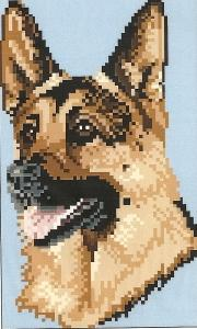 Brenda Franklin DG 104 German Shepherd Dog. 60 x 100 stitches. Cross Stitch, Petit Point, Needlepoint, Waste Canvas, & Rug Hooking Pattern.