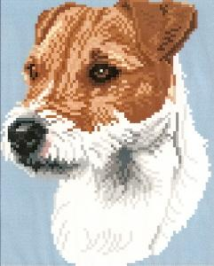 Brenda Franklin DJ 501 Jack Russell Terrier. 78 x 100 stitches. Cross Stitch, Petit Point, Needlepoint, Waste Canvas, & Rug Hooking Pattern.