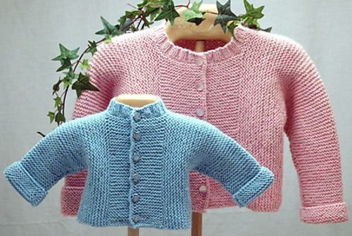 Cabin Fever 420 Baby 'J' Cardigan Knit from the Top Down in DK (#3) weight yarn. For babies: preemie to 18 months.