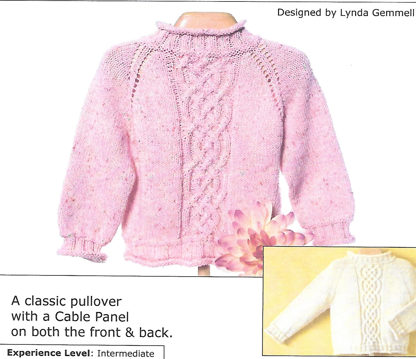 Cabin Fever 618 Top Down Kid's Classic Cable. Uses Double Knitting #3 weight yarn. Sizes 1 year to 6 years.
