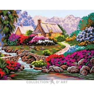 Collection D'Art 10 382 Beautiful Summer Cottage By the Brook Needlepoint Canvas