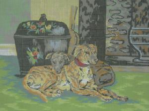 Collection D'Art 10.204 Greyhounds By The Hearth Needlepoint Canvas