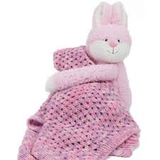 DMC Hug This Bunny Blanket. Lace Baby Blanket pattern and yarn with stuffed bunny.