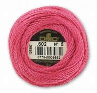 DMC Pearl Cotton 5 602 Medium Cranberry 5 gram skein 100% Cotton