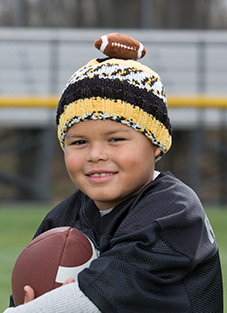 DMC Top This Yarn Team Colors Black, Gold Hat with Football