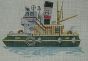 Handpainted Needlepoint Canvas 3330 Tugboat
