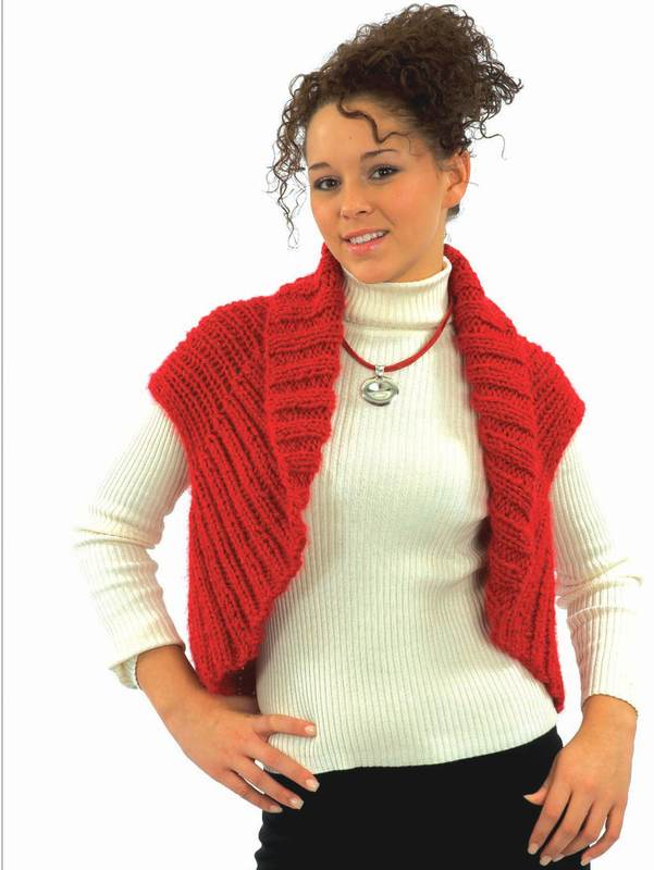Diamond 1188 uses a #5(Bulky/Chunky) weight of yarn. Knitted Shrug/Vest.
