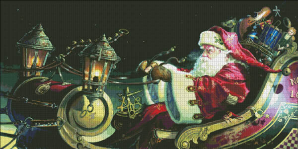 Heaven and Earth Designs #HAEDEM 123 Father Christmas Sleigh Ride (X Stitch Pattern Only)