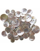 Favorite Findings Shellz Buttons Natural Pearl Round Agoya Multi Package with 35 Buttons