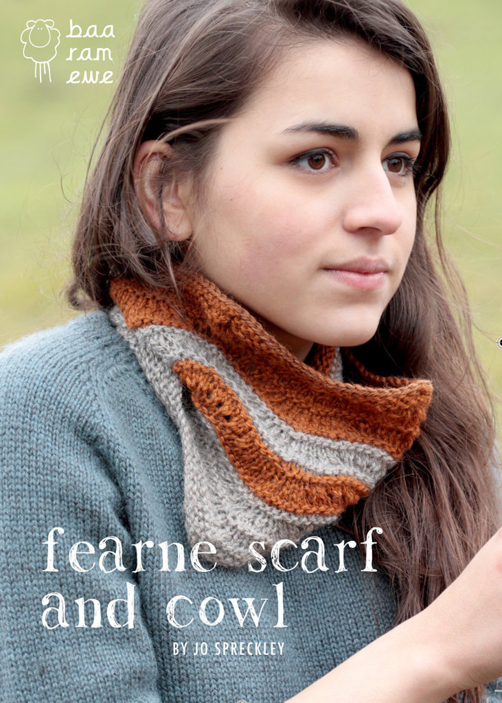 Baa Ram Ewe Fearne Scarf and Cowl by Jo Spreckley in #3 DK weight yarn.