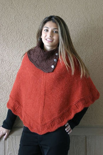 Fiber Trends AC 70 Laura's Poncho. Knit in heavy worsted (#4) weight yarn.