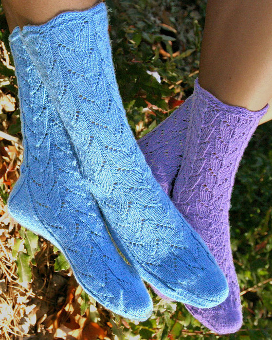 Fiber Trends AC 77 Lupine Lace Socks designed by Evelyn A. Clark