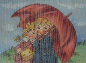 Fleur De Paris Canvas Girl & Boy Under Umbrella Needlepoint Canvas