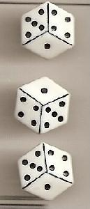 Funtastics FS1 White Dice(3/Card)