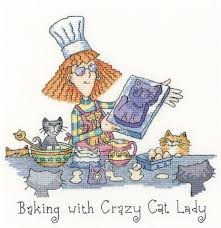 Heritage Stitchcraft CRBL1298 Baking With Crazy Cat Lady (X Stitch Pattern Only)
