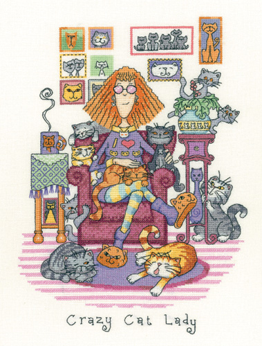 Heritage Stitchcraft CRCL1229 Crazy Cat Lady (X Stitch Pattern Only)