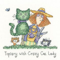 Heritage Stitchcraft CRTP1301 Topiary with Crazy Cat Lady (X Stitch Pattern Only)