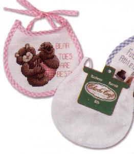 "Pink Gingham ""Baby Soft"" X-Stitch Infant Bibs"