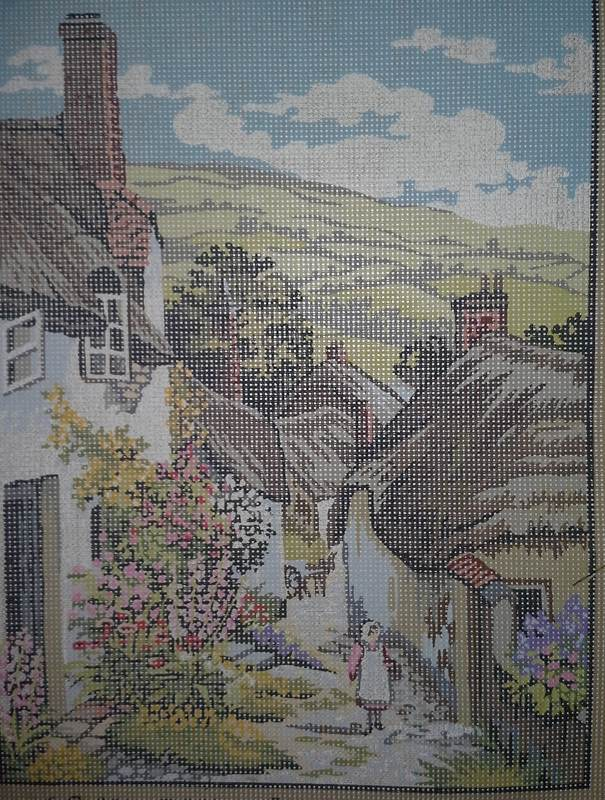 Kinetic KT62 A Cobbled Village Street after AC Strachan from the British Collection Needlepoint Canvas