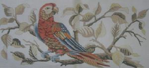 Parrot On A Branch Handpainted Needlepoint Canvas