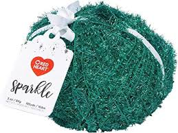 Red Heart Sparkle 8961 Green Polyester Craft Yarn