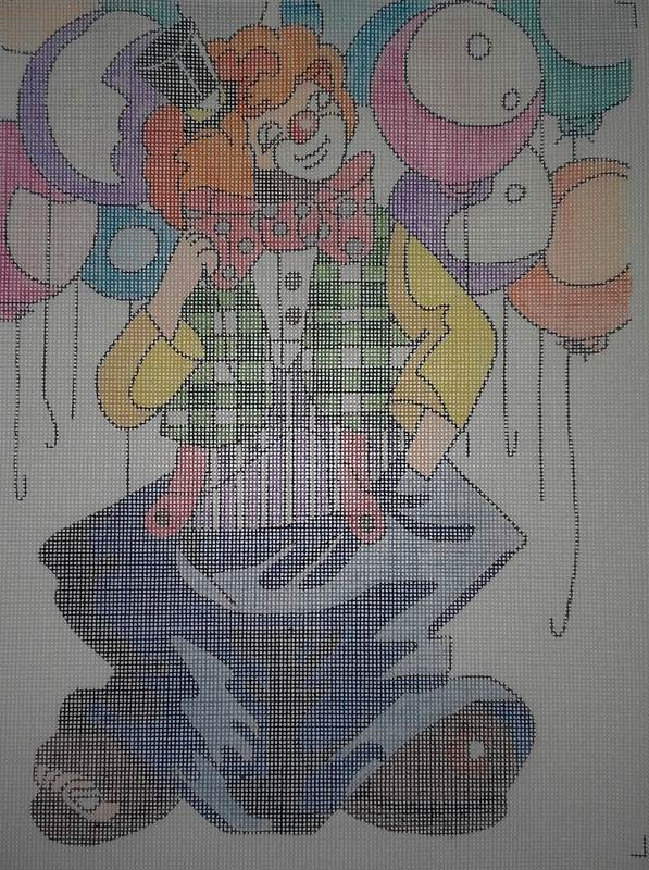 Sasi Creations Inc. Swellagant 3074-4T Clown Needlepoint Canvas