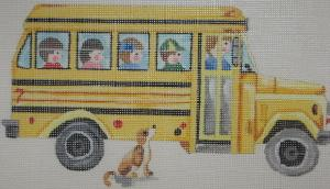 Handpainted Needlepoint Canvas 3329 School Bus